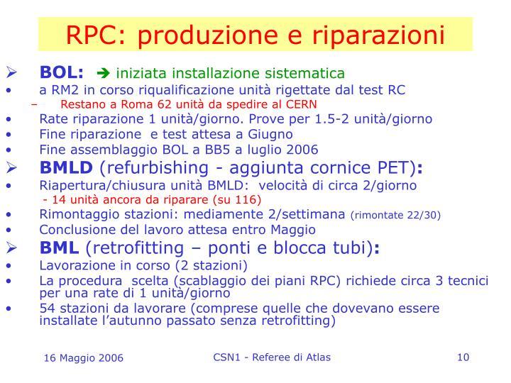 RPC: produzione e riparazioni