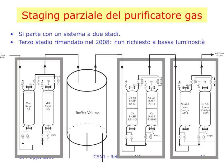 Staging parziale del purificatore gas
