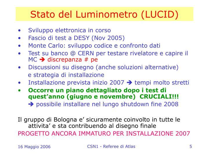 Stato del Luminometro (LUCID)