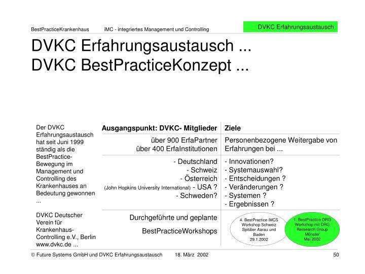 DVKC Erfahrungsaustausch ...                   DVKC BestPracticeKonzept ...