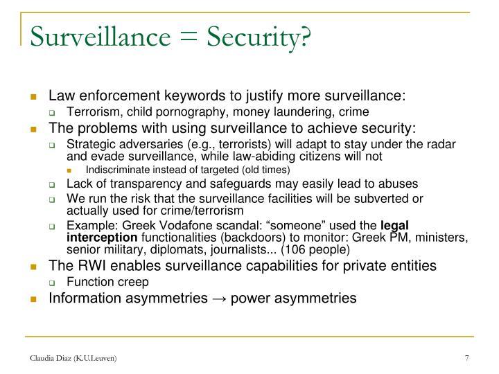 Surveillance = Security?