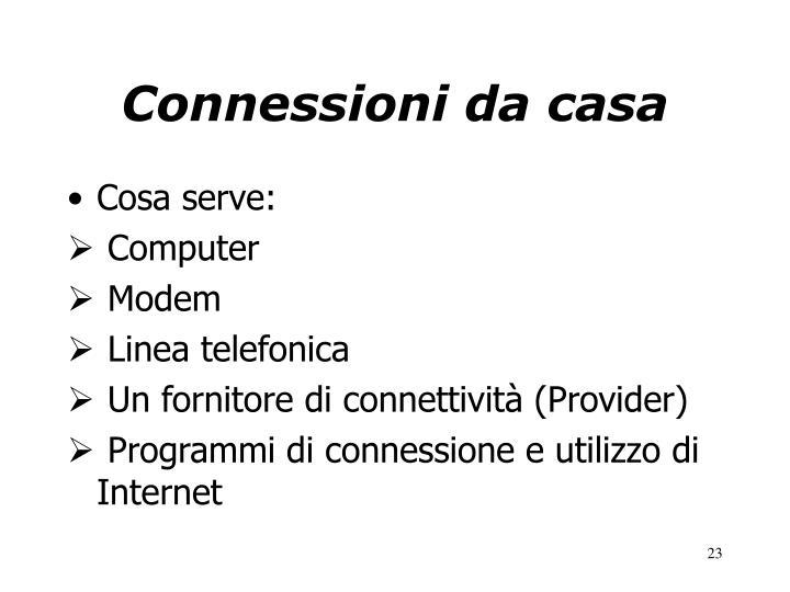 Connessioni da casa