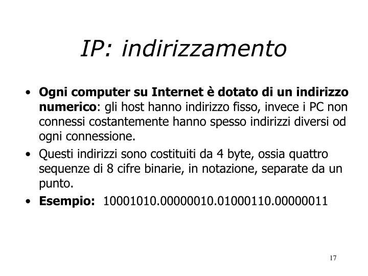 IP: indirizzamento