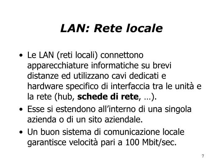 LAN: Rete locale