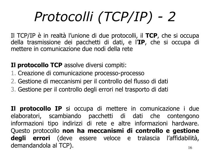 Protocolli (TCP/IP) - 2
