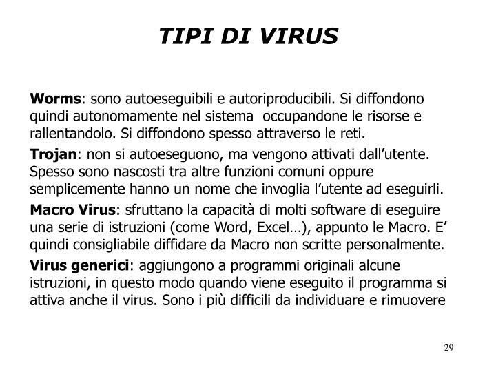 TIPI DI VIRUS