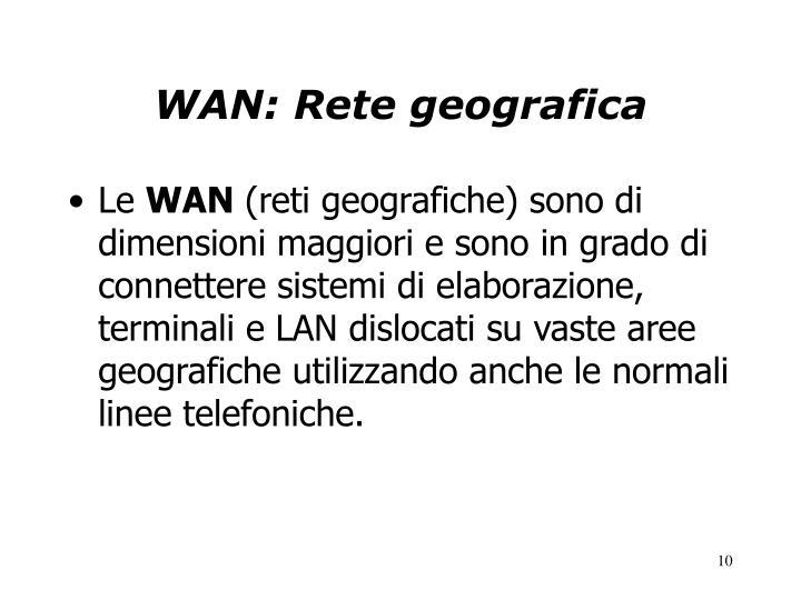 WAN: Rete geografica