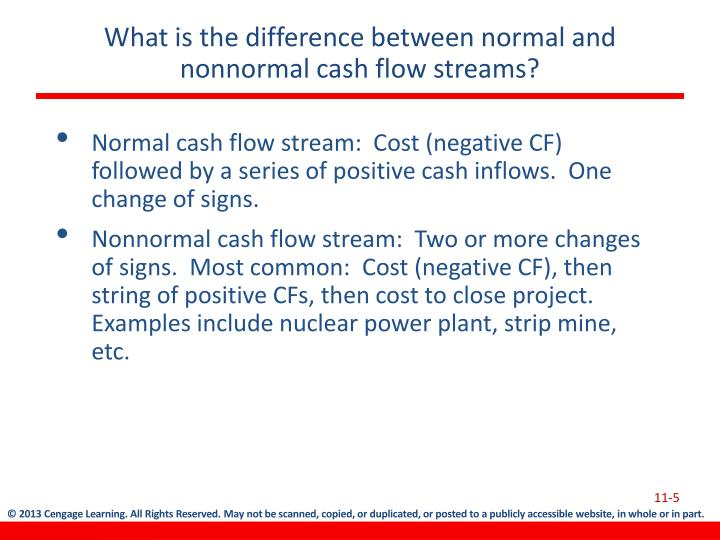 What is the difference between normal and nonnormal cash flow streams?