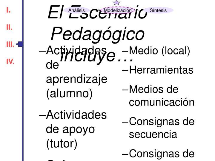 El Escenario Pedagógico incluye…