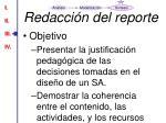 redacci n del reporte