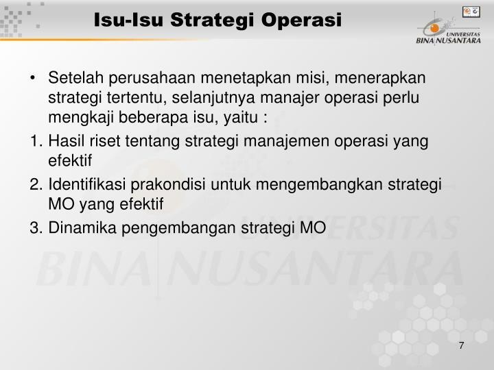 Isu-Isu Strategi Operasi