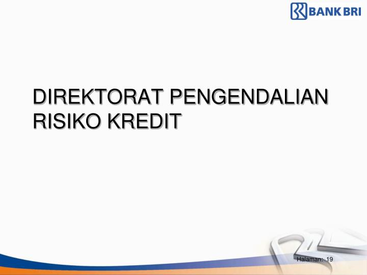 DIREKTORAT PENGENDALIAN RISIKO KREDIT