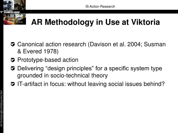 AR Methodology in Use at Viktoria