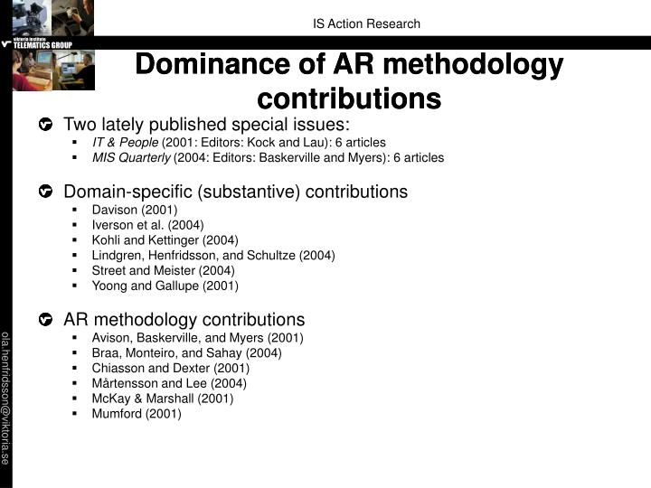 Dominance of AR methodology contributions