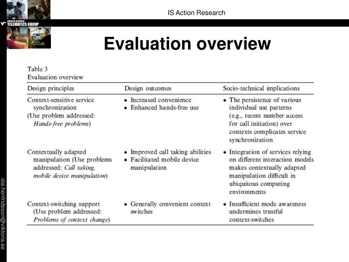 Evaluation overview