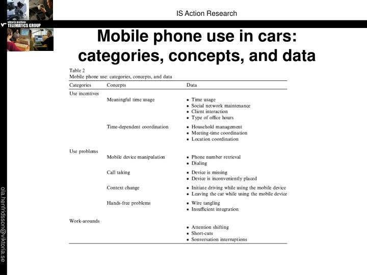 Mobile phone use in cars: categories, concepts, and data