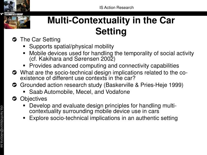 Multi-Contextuality in the Car Setting