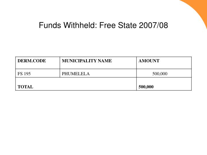 Funds Withheld: Free State 2007/08