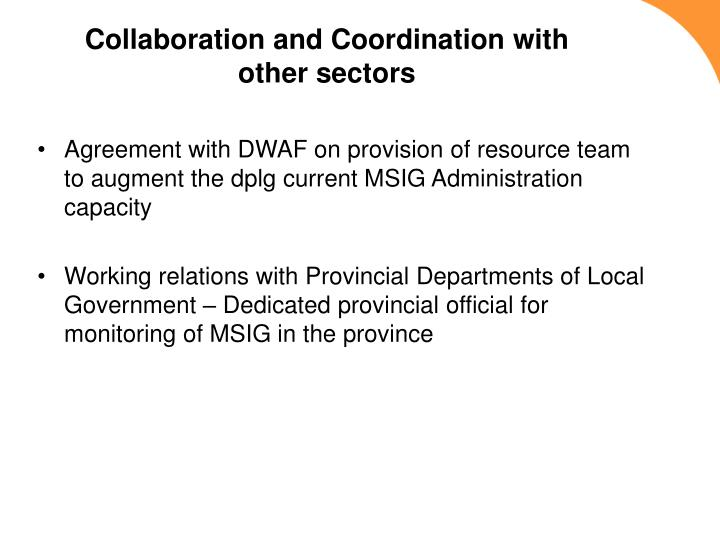 Collaboration and Coordination with other sectors