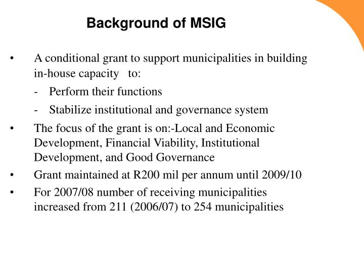 Background of MSIG