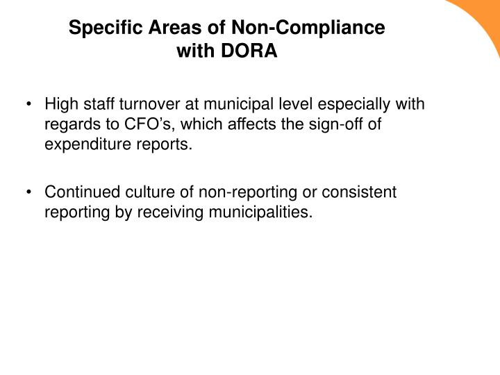 Specific Areas of Non-Compliance with DORA