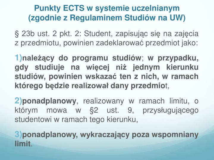 Punkty ECTS w systemie uczelnianym