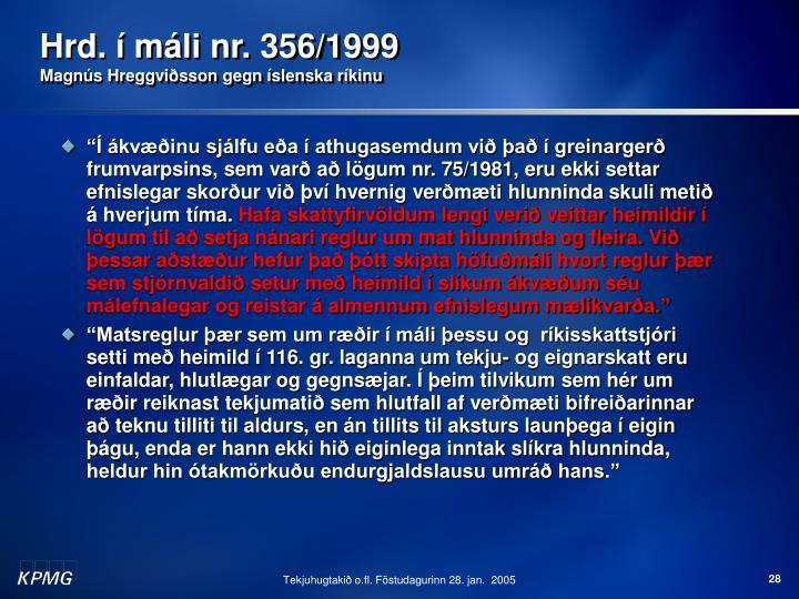 Hrd. í máli nr. 356/1999