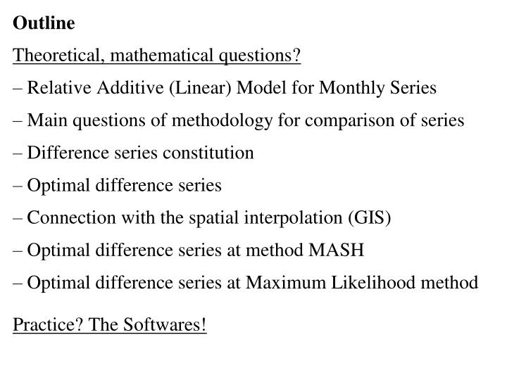 Methodological questions of series comparison