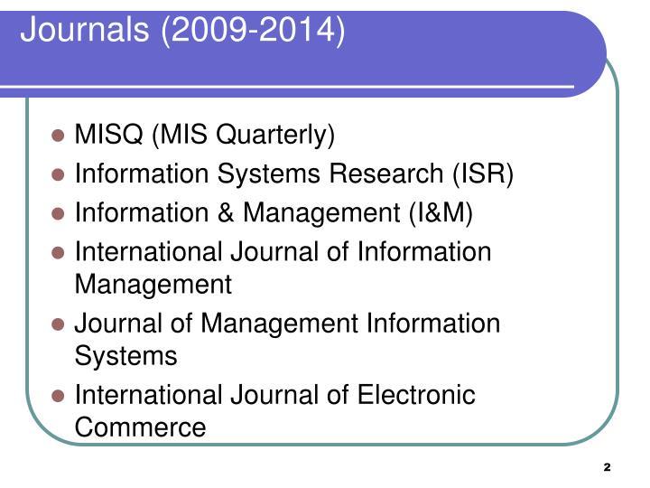 Journals (2009-2014)
