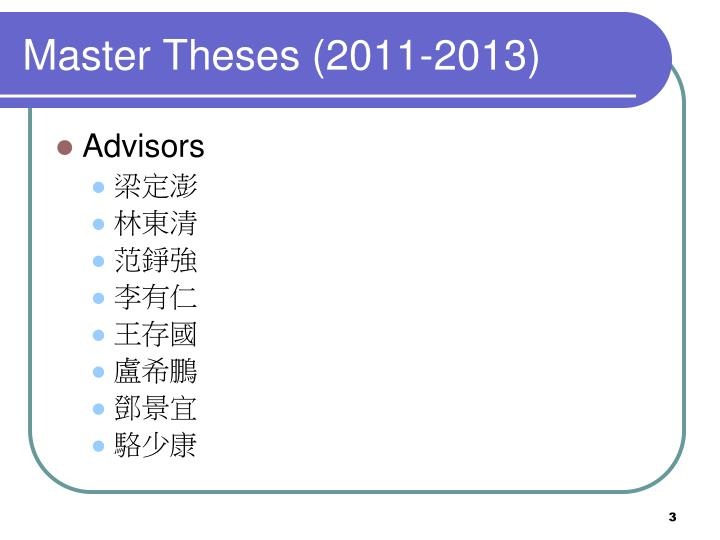 Master theses 2011 2013