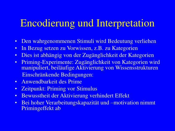 Encodierung und Interpretation