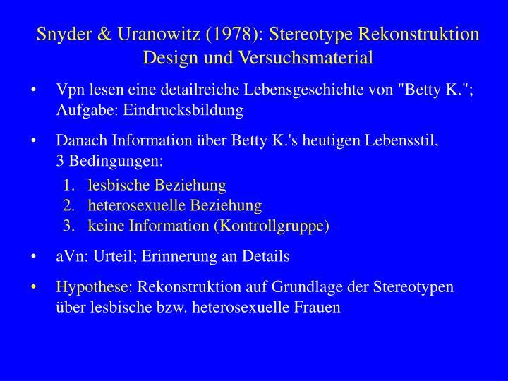 Snyder & Uranowitz (1978): Stereotype Rekonstruktion