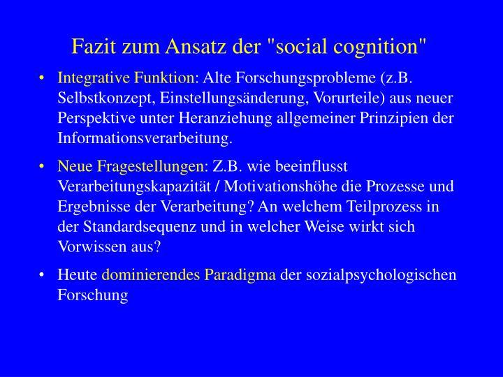 """Fazit zum Ansatz der """"social cognition"""""""