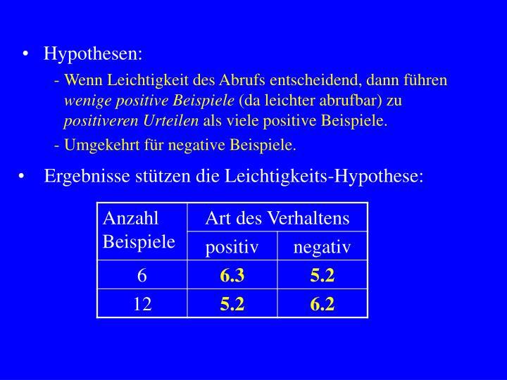 Hypothesen: