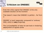 criticism on dnssec