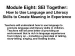 module eight sei together how to use language and literacy skills to create meaning in experience