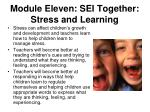 module eleven sei together stress and learning