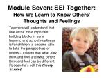 module seven sei together how we learn to know others thoughts and feelings