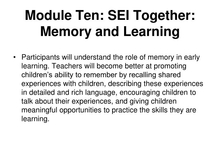 Module Ten: SEI Together: Memory and Learning