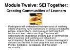 module twelve sei together creating communities of learners