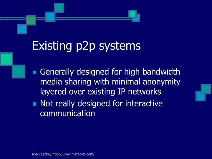 Existing p2p systems