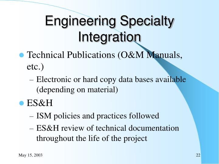 Engineering Specialty Integration