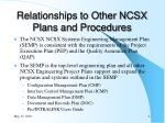 relationships to other ncsx plans and procedures