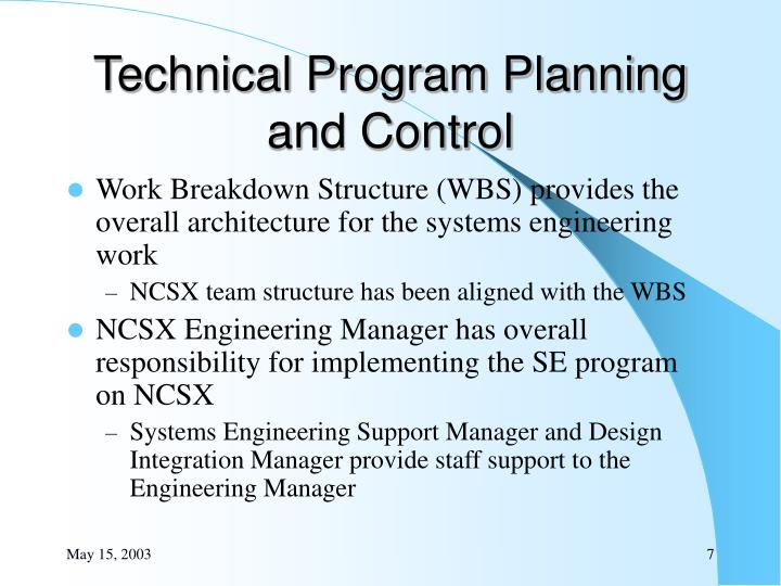 Technical Program Planning and Control