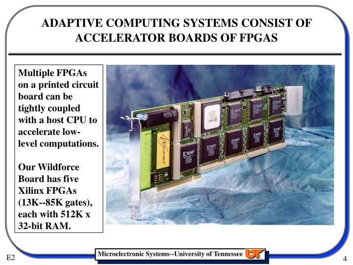 Multiple FPGAs on a printed circuit board can be tightly coupled with a host CPU to accelerate low-level computations.