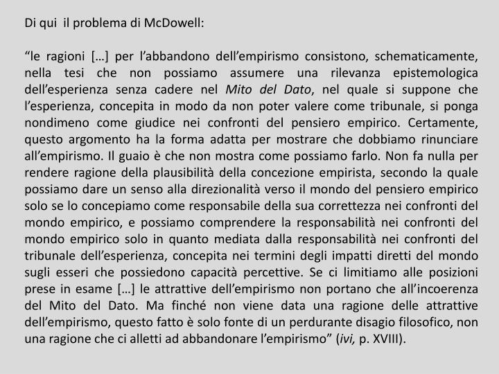 Di qui  il problema di McDowell: