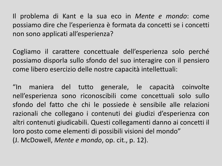 Il problema di Kant e la sua eco in