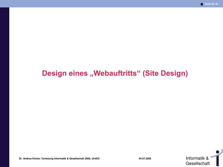 """Design eines """"Webauftritts"""" (Site Design)"""