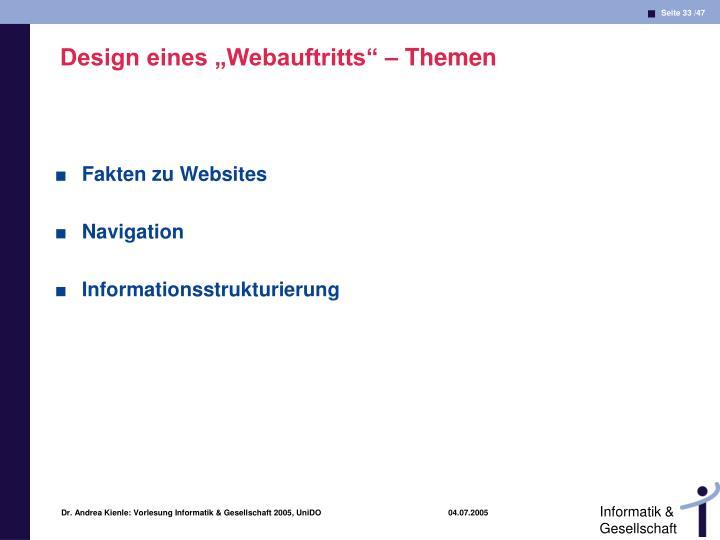 """Design eines """"Webauftritts"""" – Themen"""