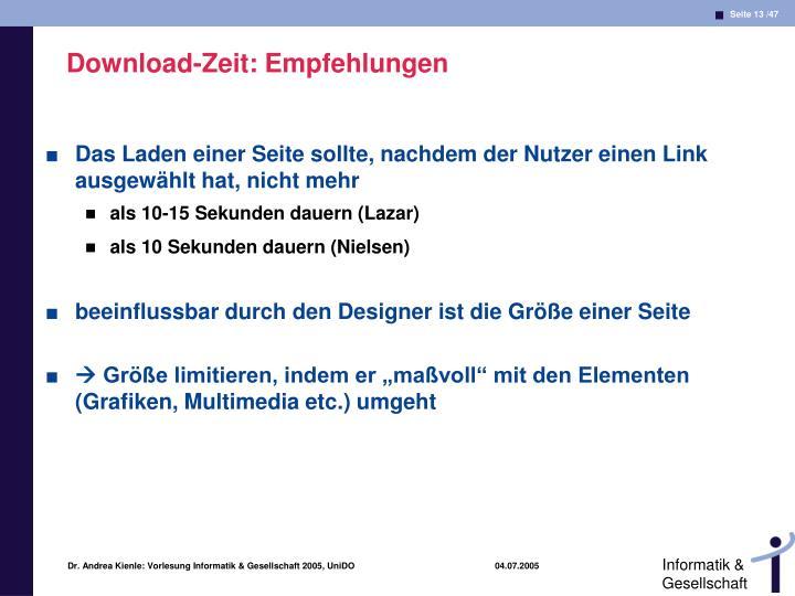 Download-Zeit: Empfehlungen